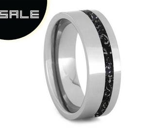 SALE - Polished Titanium Wedding Band With Offset Black Stardust Pinstripe, Unique Meteorite Ring, Outer Space Jewelry