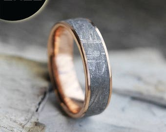 SALE - Gibeon Meteorite Ring, 14k Rose Gold Wedding Band, Space Jewelry