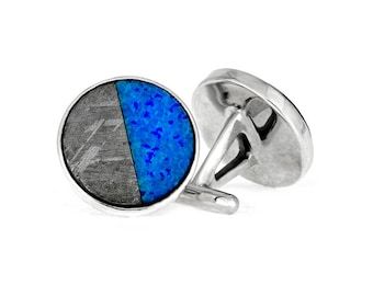 Synthetic Opal Cuff Links With Meteorite, Sterling Silver Jewelry, Personalized Meteorite Wedding Accessories