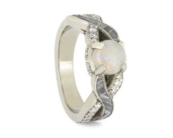 Opal Engagement Ring, Meteorite Ring With Diamond Accents, Twist Engagement Ring With Cabochon Gemstone in White Gold