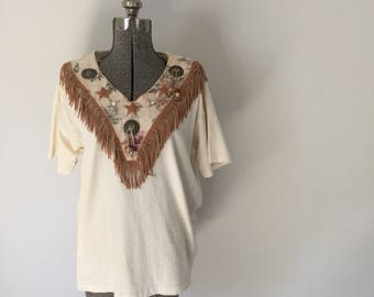 Vintage HANDMADE WESTERN Top • 1990s Clothing •Rhinestone Embroidered Concho Ivory Cream Country Fringe Short Sleeve T Shirt Medium Large