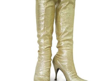 REDUCED Vintage Gold Boots 60s Go-go Lurex Sparkly Knee High Stretch Space Age  7.5