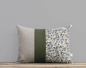 LIMITED EDITION: Liberty Print Pillow Cover Wiltshire Leaf & Berry 12x16 by JillianReneDecor, Fall Lumbar Pillow, Olive Green, Sienna, Navy