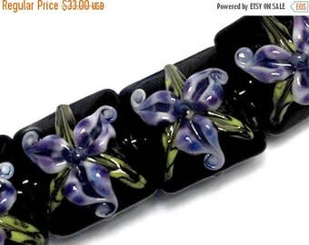 ON SALE 35% OFF New! 10205714 Four Purple Iris Pillow Beads - Handmade Glass Lampwork Bead Set