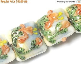 ON SALE 35% OFF Four Hawaiian Vacation Pillow Beads 11008614 - Handmade Glass Lampwork Beads