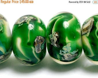 ON SALE 35% OFF New! Six Greener Treasures Rondelle Beads - Handmade Glass Lampwork Bead Set 10507921