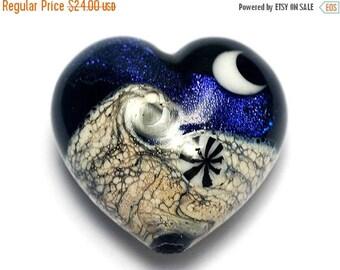 ON SALE 30% off Indigo Night Celestial Heart (Large) - Handmade Glass Lampwork Bead 11833025