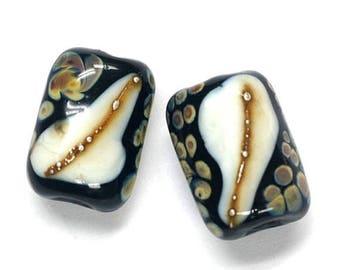 ON SALE 30% off Glass Lampwork Bead Sets - Six Black/Ivory & Beige Dots Mini Kalera Beads 11105003