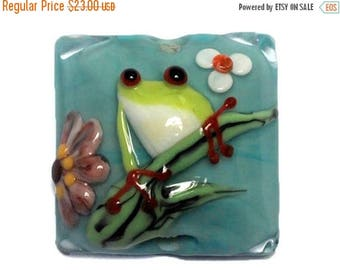 ON SALE 30% off NEW! Handmade Glass Lampwork Bead - 11839904 Happy Frog Pillow Focal Bead