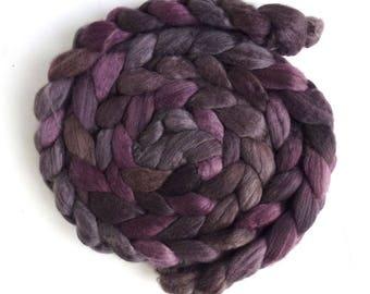 Merino/ Silk Roving (Top) - Handpainted Spinning or Felting Fiber, Stacked Cedar