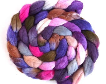 Sweet and Steady, Rambouillet Wool Roving - Hand Painted Spinning or Felting Fiber