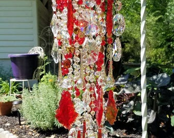 Ruby Crystal Wind Chime, Antique Crystal Wind Chime, Red Gold Crystal Wind Chime, Garden Decoration, Home Decor, Crystal Art, Garden Art