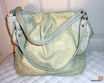 Vintage python textured genuine leather large slouchy hobo, satchel, tote, silver white color decent vintage condition