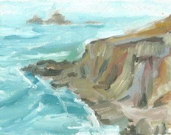 seascape painting oil original plein air canvas small 6x8 On the Coast Path to Sennen, Cornwall