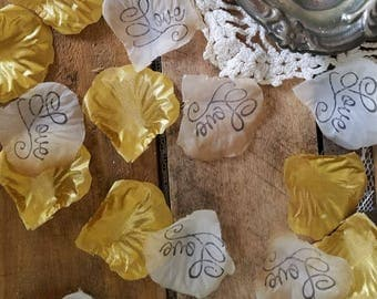 Gold wedding confetti, Flower Girl Petals, wedding rose petals- Table Scatter Gold wedding decor, 200 petals, bridal shower decorations