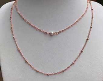 Layering dainty pearl necklace, Rose gold choker, Rose gold layered, Layering necklace, Silver layered, Pearl, Boho necklace, Dainty choker,