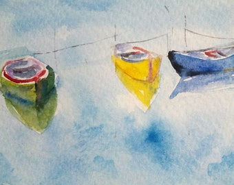original watercolor painting ACEO boats 2.5x3.5 inches