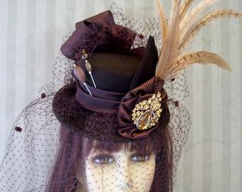 Brown Steampunk Mini Top Hat, Victorian Hat, Cosplay Mini Top Hat, Fascinator, Wedding Mini Top Hat, Halloween Hat