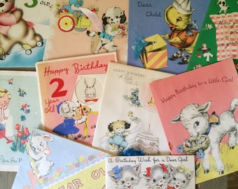 Collection of 10 Vintage Child's Birthday Cards 1940's