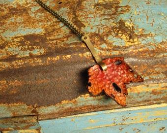 Leather Leaf Necklace Pendant Necklace Maple Leaf Handmade Brass Stem