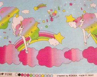 Japanese Fabric, Unicorn Fabric, Kokka Fabric, Japanese Kokka Fabric, Candy Party, Unicorns, Kokka Japan, Rainbow Unicorn, Rainbows, Fabric
