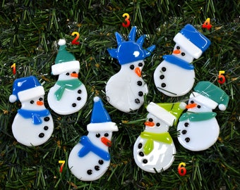 Ornament, snowman, fused glass, art glass, home decor, christmas, tree, hat, scarf