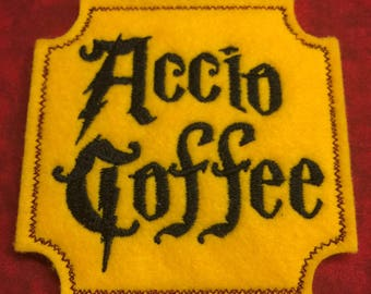 "Accio Coffee Coaster / Mugrug *Made-to-order 4""x4"" wool felt"