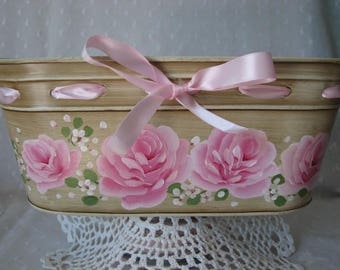 Oval Metal Tub Hand Painted Pink Roses Ribbon Storage Container Planter
