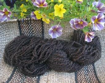 Handspun Yak Down Baby Alpaca Yarn Very Very Soft  2-oz 110-yds Two Ply Plum-Brown Silk Twist Baby Approvedlend Darkest Brown