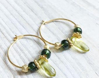 Fleur Posy Drop Earrings in Raspberry Mint and Brass