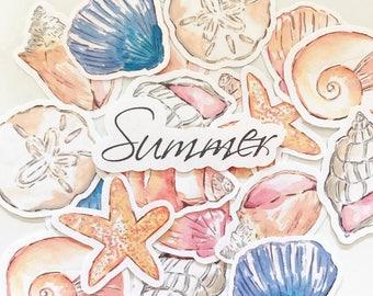 Die Cuts Epehemera Sea Shells Beach Paper Cardstock
