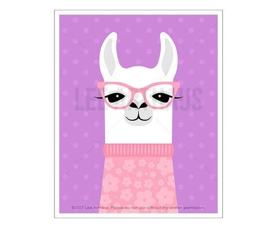 52J Children Decor - White Llama Wearing Pink Sweater Wall Art - Girl Bedroom Art - Pink and Purple Decor - Nursery Prints - Print for Girls