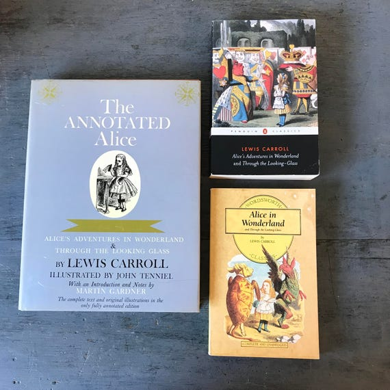 vintage Alice in Wonderland books - Through the Looking Glass - Lewis Carroll - John Tenniel - Unabridged - Annotated - classic literature
