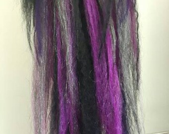 Single Pink, black, purple and grey loose hair fall! Instant style changer! Mounted on strong elastic.