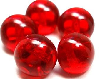 """5 Ruby Czech Glass Buttons, Round ball glass, 3/8"""", 10mm."""