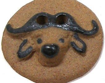 """LG Ceramic Buffalo head Button, Handmade Water Buffalo, 1""""."""