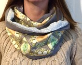 Infinity Scarf - flannel lined  -citrus floral