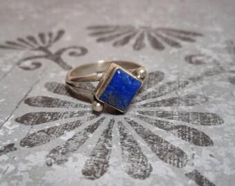 Lapis Lazuli Sterling Silver Split Shank Ring Size 7 1/2 Square Stone