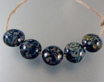 Lampwork Beads-Glass Beads-Pair-Lentil-Cobalt Raku-Swirl Beads-Lampwork-Artisan-Handmade-Bead-Lentil Beads-Glass Beads-Lampwork Glass Beads
