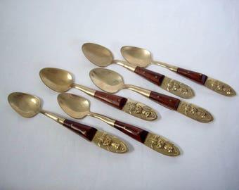 Six Vintage Gold Demitasse Spoons