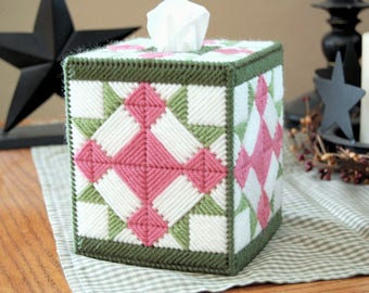PATTERN: Quilted Tissue Box Cover #2 in Plastic Canvas