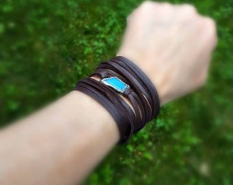 Leather Wrap Bracelet, Stained Glass Jewelry, Brown Leather Lace, Blue Glass, Long Wrap Bracelet, Dark Brown, Patina, Silver, Boho Style