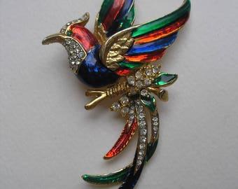 Vintage Enamel Lg Phoenix Bird of Paradise Pin Rhinestone