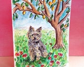 Yorkshire Terrier Gift, Lemon Tree Card, Hand Painted Terrier Card, Terrier Art, Original Watercolor, Canine Artwork, Dog Portrait, 5 X 7