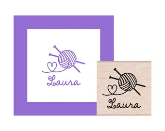 Knitting with Love Personalized Rubber Stamp