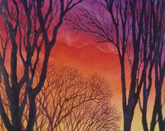 Sunset Lace V an original watercolor
