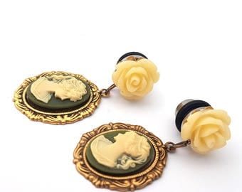 0g 8mm Olive Lady Cameo Dangle Plugs for Stretched Ears-Piercing-Surgical Steel-Festival Fashion-Wedding Plugs-Fancy Fashion Girly Plugs