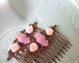 Purple Pink Owl Hair Comb Woodland-Whimsical Hair Combs-Offbeat Wedding-Antique Bronze-Eule-Bridesmaid Gift-Gifts Under 10-Bird Accessory
