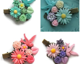 Daisy Cluster Clip-Bird Hair Accessory-Bright Fashion-Rainbow Wedding-Gifts for Bridesmaids-Bridal Party-Offbeat Bride-Decora Fashion-Chunky