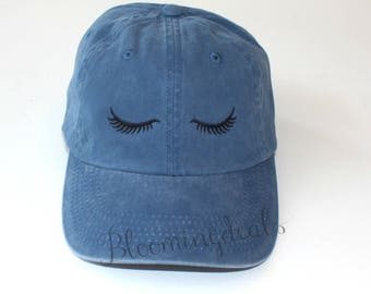 Eyelashes Baseball Cap, Distressed Pigment Dyed Hat, Unstructured Low Profile Cap